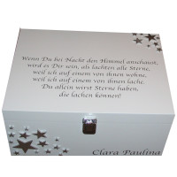 White box with silver stars with verse in German on the lid