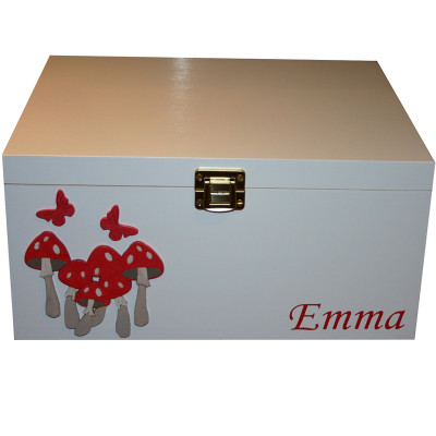 White Wood Keepsake Box with Red Toadstools