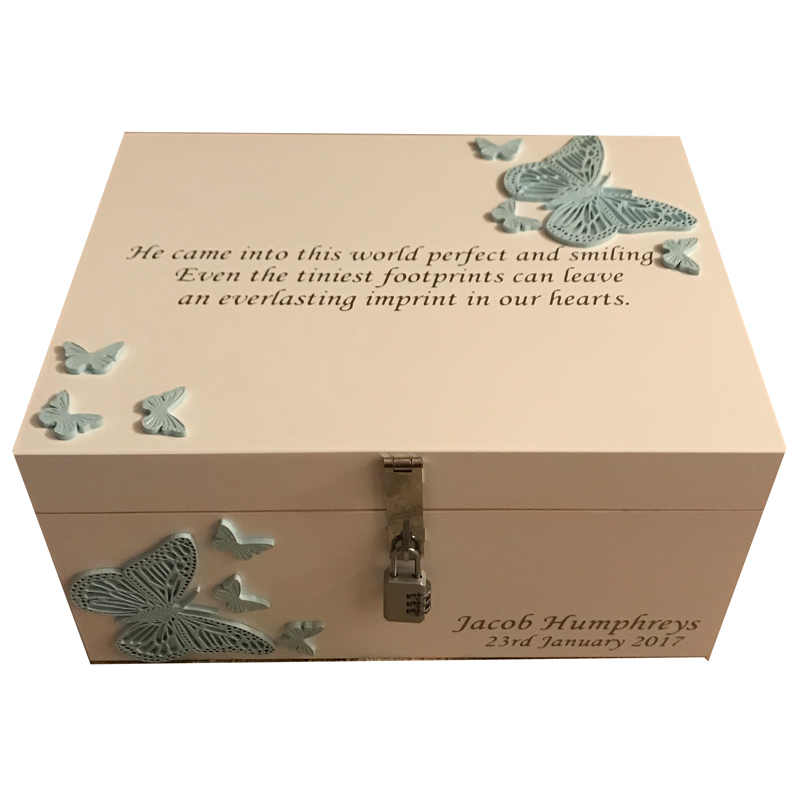 Ivory Bereavement Memory Box Blue Butterflies with lock