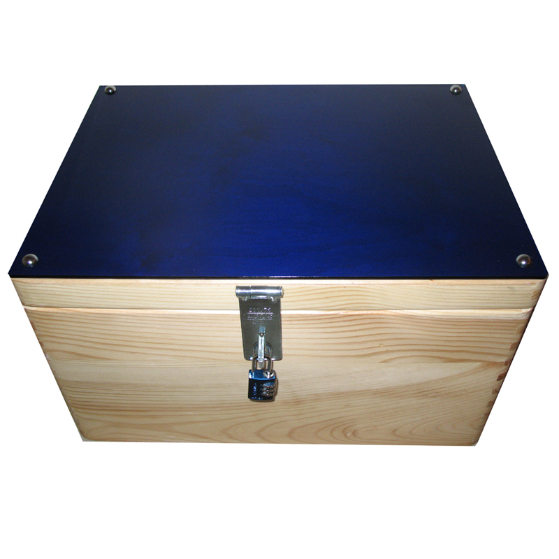 blue acrylic lidded wooden storage boxes lockable - Lockable Storage Box
