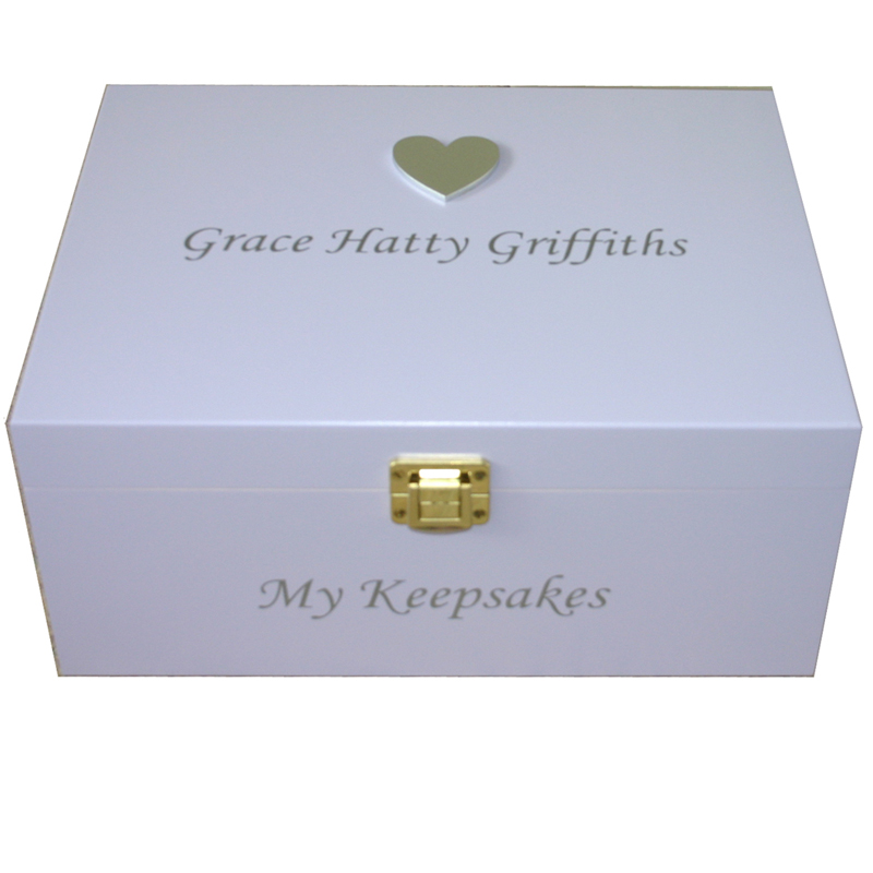 Lavender Keepsake Box with large Silver Heart silver lettering