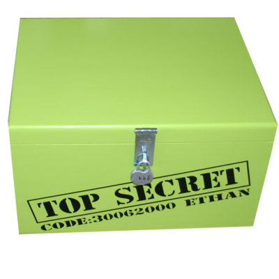 Lime Green XL Painted Top Secret Keepsake Box for boys with lock, personalised on banner