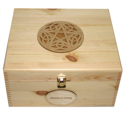 Wooden Storage Keepsake Box with a Pentagram