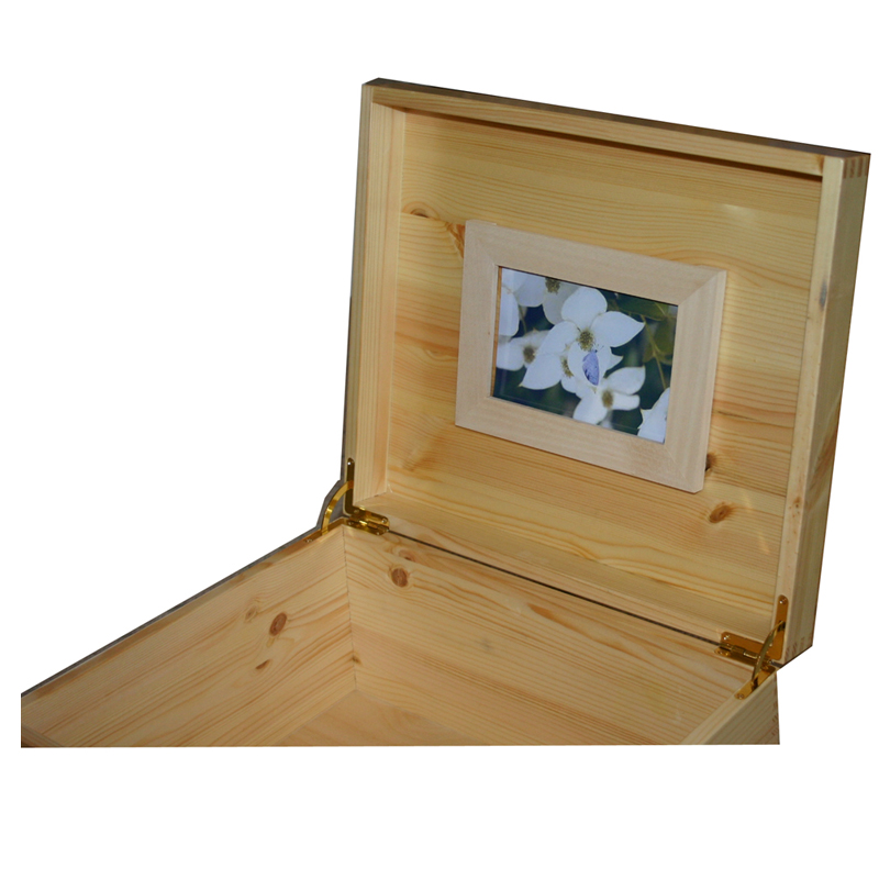Natural Coloured Pine with frame and brass quadrant hinges/lidstays