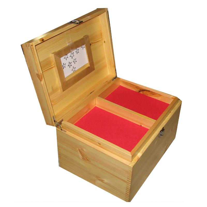 Wooden XL Memorial Box Personalised Natural Pine
