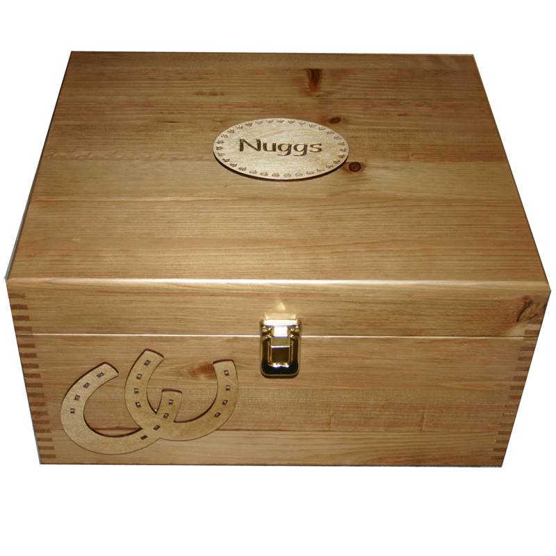 Personalised Wooden Pet Memorial or Memory Box with Horseshoes