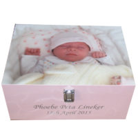 Pine Keepsake Box with photo on the lid silver clasp