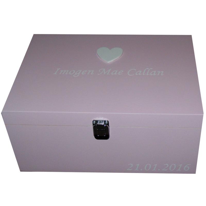Pine Memory Box large white heart white lettering