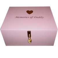 Pink Memory Box large gold heart with brass tone lock
