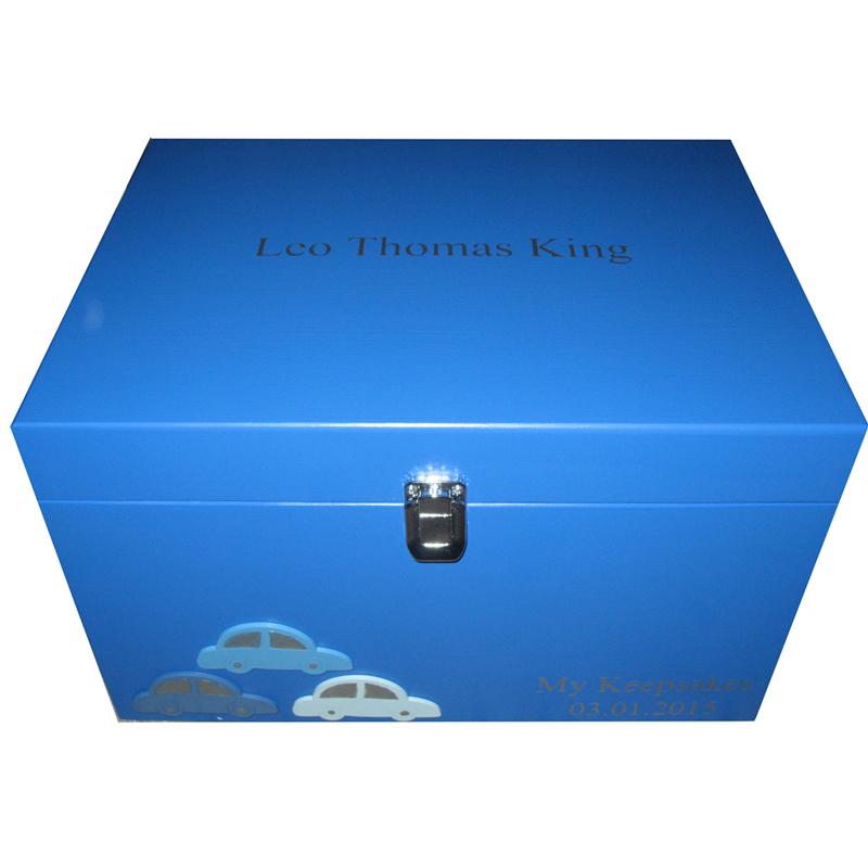 Royal Blue XL Boys Storage Keepsake Box with three cars