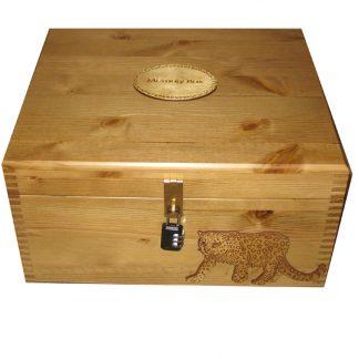 Rustic Pine Large Personalised Keepsake Box with leopard lockable