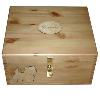 Wood Keepsake Box With a Scottie Dog