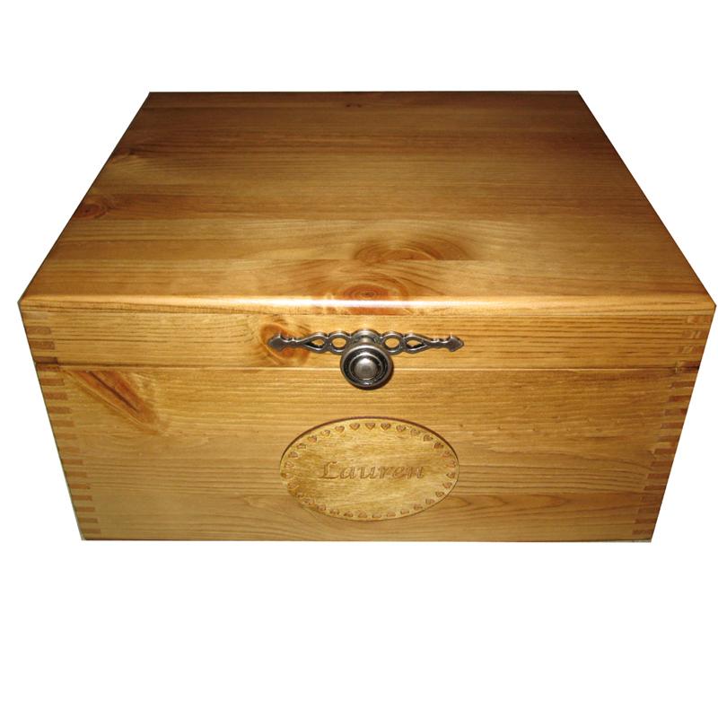 Plain Large Wooden Keepsake Storage Box Personalised ...
