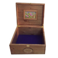 Rustic Pine Large Keepsake Box open with frame and purple felt