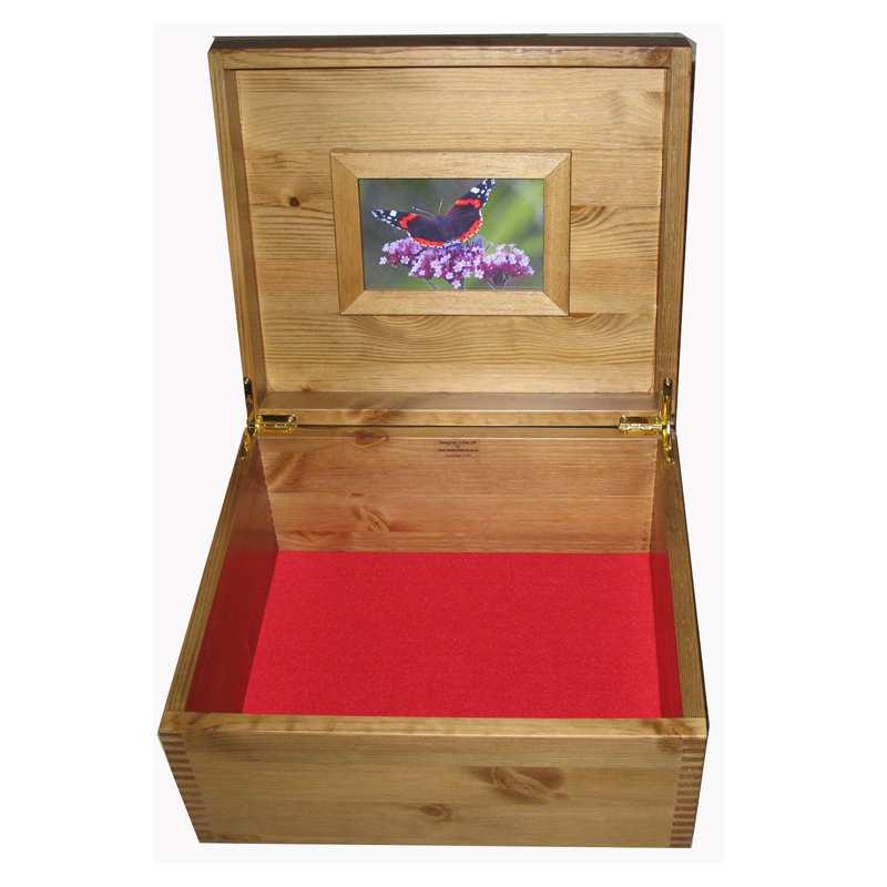 Rustic Pine Keepsake Storage Box open with frame and red felt
