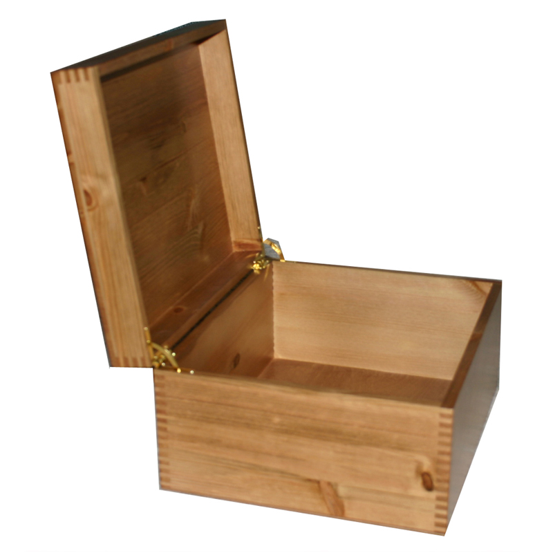 Rustic Pine Large Box Open Quadrant Hinges in brass tone
