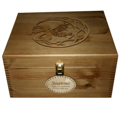 Rustic Pine Large Personalised Keepsake Boxes with fretwork moon fairy with long hair