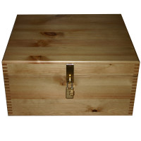Plain Lacquered Pine Storage Box Lockable or Clasp
