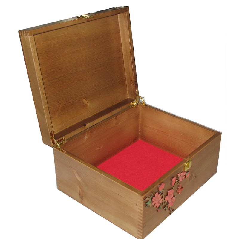 Rustic Pine Large Keepsake Box with paint wash on red flower spray open with red felt.