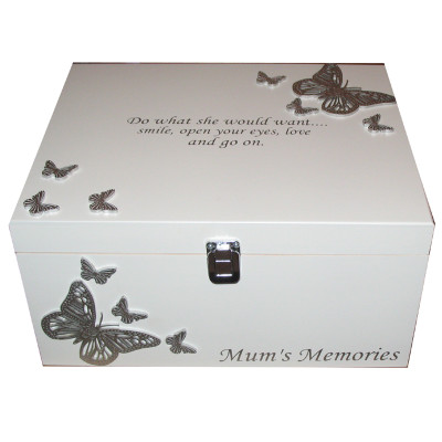 Bereavement Memory Box with silver butterflies