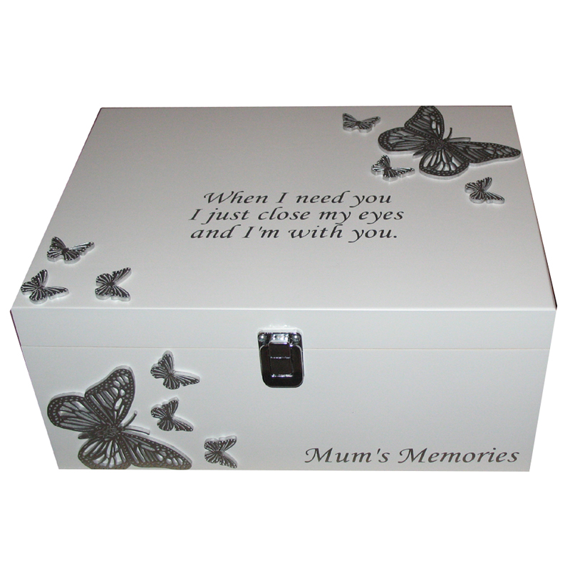 White Bereavement Memory Box Silver Butterflies