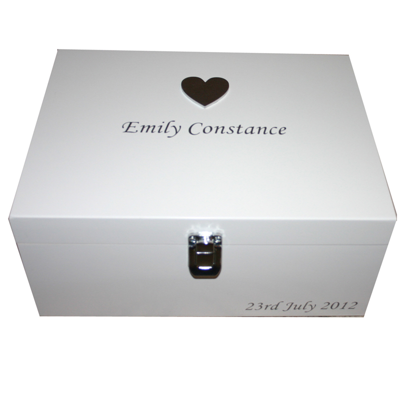 White Large Keepsake Box large silver heart silver lettering