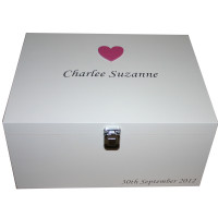 White Keepsake Box with large Dark Pink Heart and silver lettering