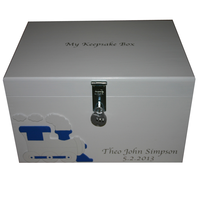 Wooden Xl Painted Keepsake Boxes Personalised For Boys