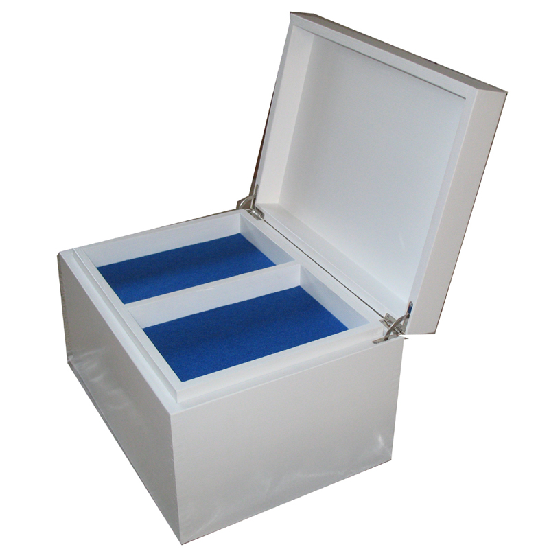 White Painted Keepake Box open with compartment tray and royal blue felt