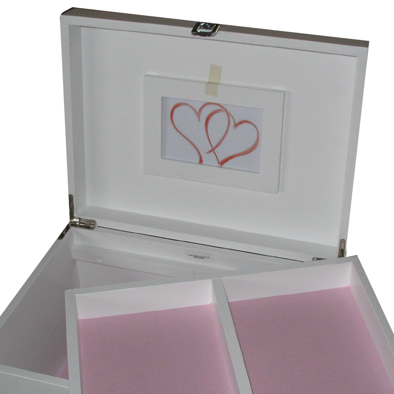 White XL Memory Box with tray and pale pink felt
