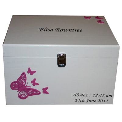 White XL Painted Baby Keepsake Boxes Made of Wood - Darker Pink Butterflies