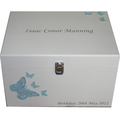 Baby Keepsake Box for a boy with pale blue butterflies