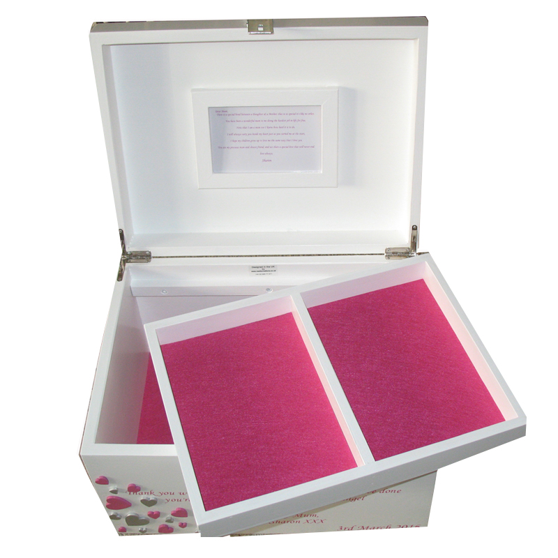 White Painted XL Keepsake Box open with magenta pink felt and frame compartment tray