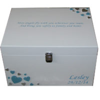 White XL Painted box with blue and silver hearts blue writing with clasp