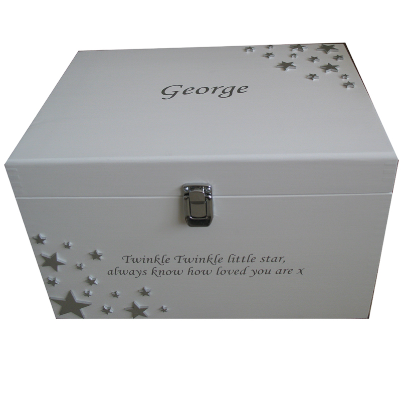 White XL Painted Unisex Keepsake Box with silver stars and Twinkle Twinkle Little Star