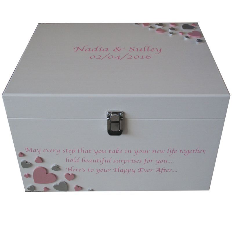White XL Painted Romantic Keepsake Box with pale pink and silver hearts with clasp