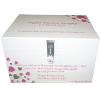White XL Painted Keepsake Box for ladies with darker pink and silver hearts pink lettering with lock