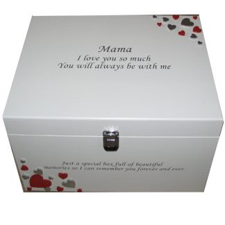 White XL Painted Keepsake Box with red and silver hearts silver lettering