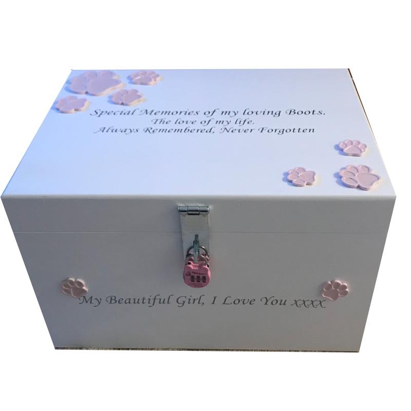 XL Pet Dog Memorial box Pale Pink Paws - Personalised