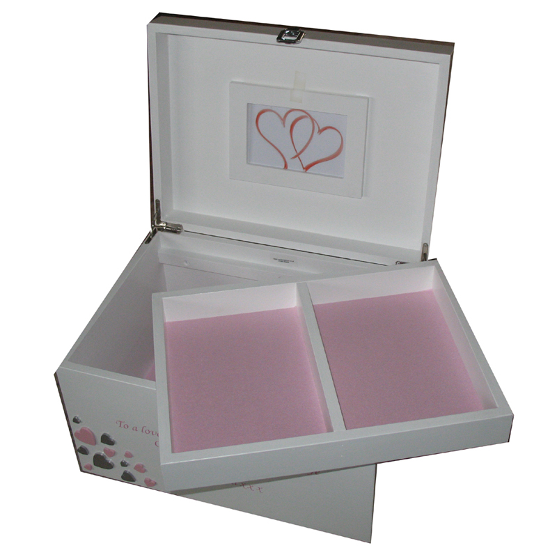 White XL Personalised Keepsake Box with tray hearts and pale pink