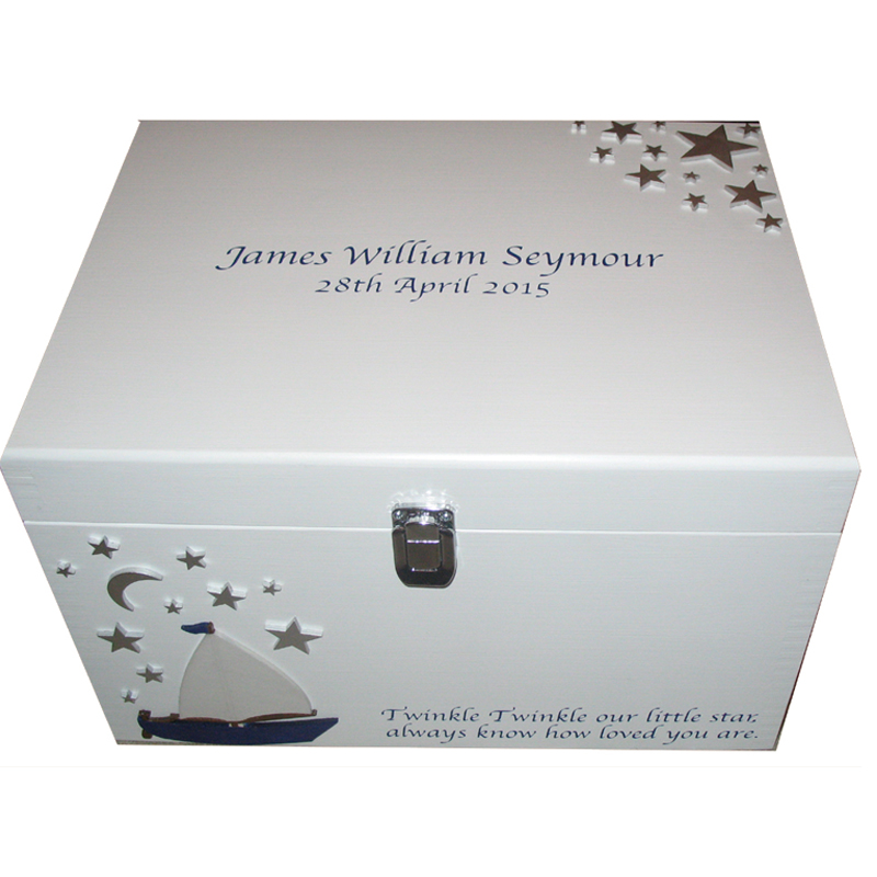 White XL Painted Keepsake Box with silver stars, silver lettering and sailing boat with clasp