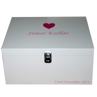 White Storage Box mid pink large heart name pink lettering