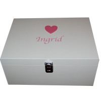 White Memory Box mid pink large heart pink lettering