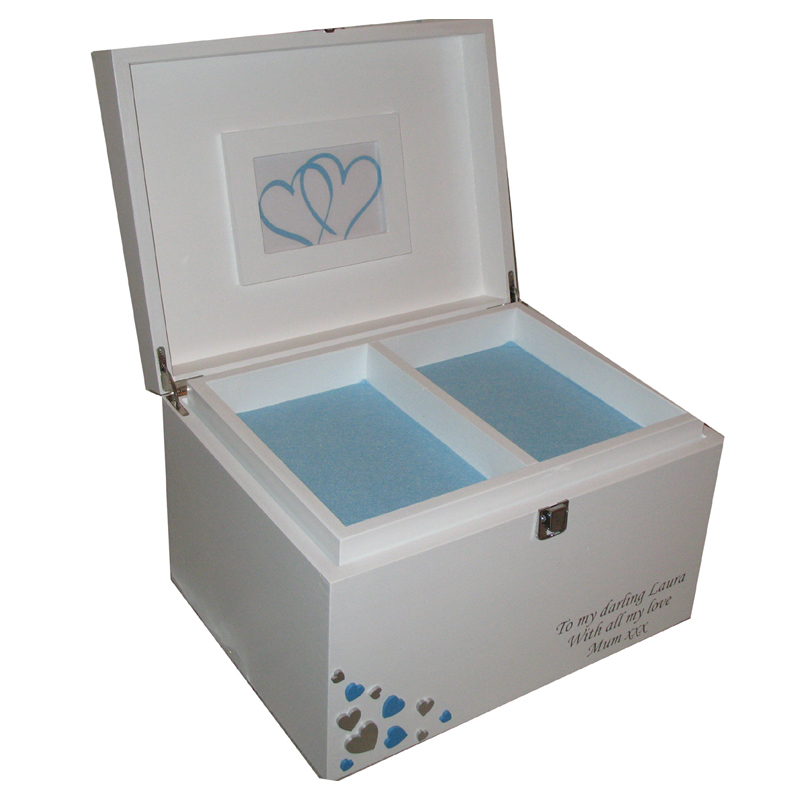 White xl Painted Keepsake Box with blue and silver hearts open with tray pale blue felt.