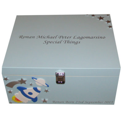 Pale Blue Keepsake Box for boys with rocket, planet and stars