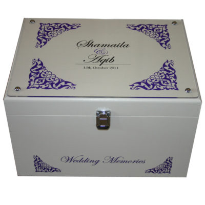 Ivory XL Wedding XL Keepsake Box for Couples with acrylic and frame