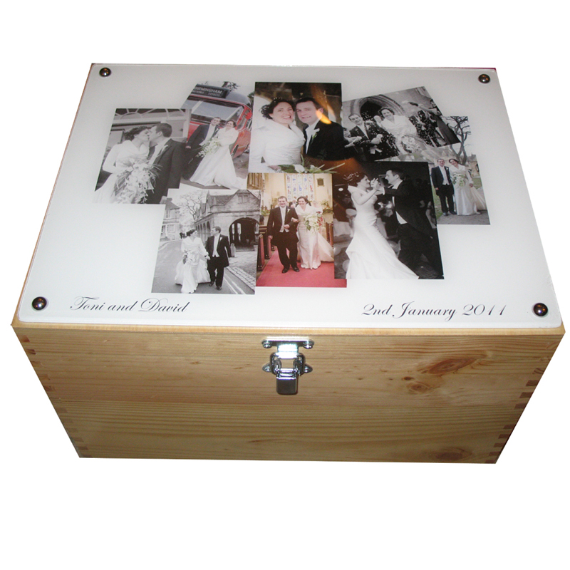 Personalised Xl Wedding Keepsake Box With Collage Of