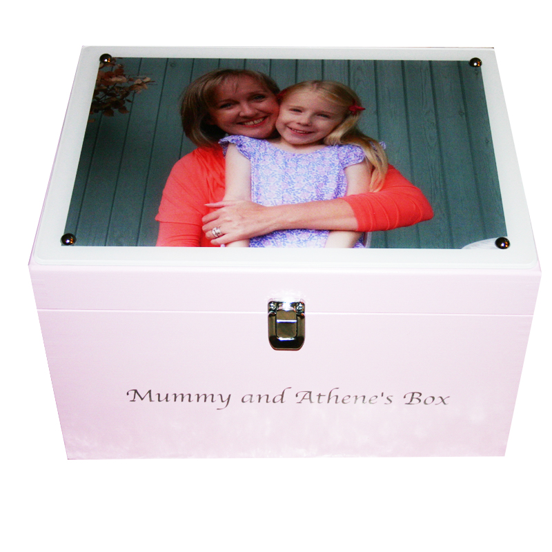 Pale Pink XL Keepsake Box with Photo on Acrylic on the lid