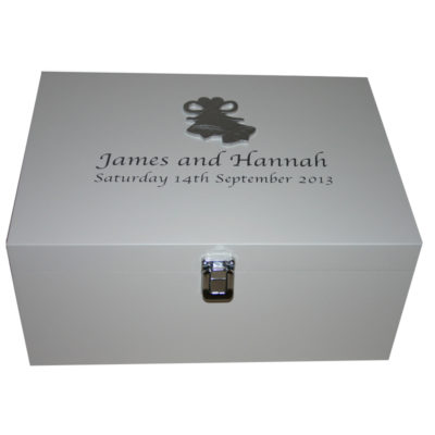 Personalised White Wedding Keepsake Box with Wedding Bells
