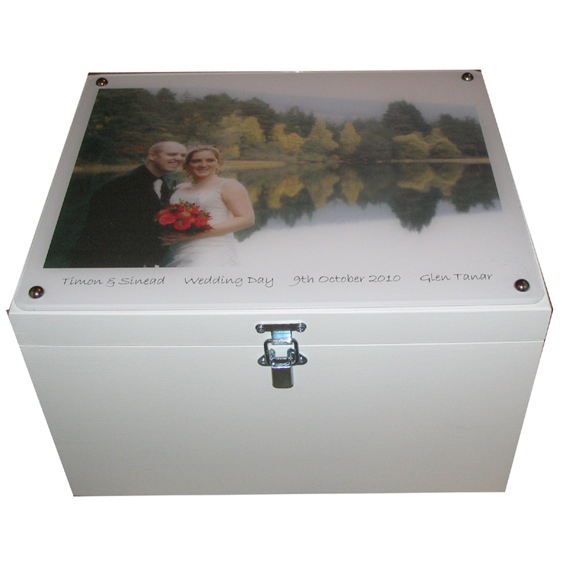 Wooden Xl Personalised Wedding Keepsake Boxes With Photo On Acrylic